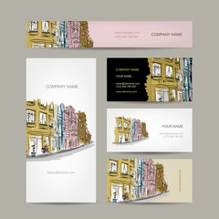 Business cards design with old city street sketch