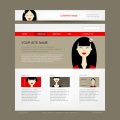 Website design template with asian woman