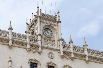 Clock on the facade of Rossio railway station
