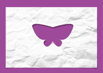 butterfly paper cutout in  Crumpled white paper