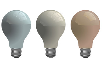 Vector format of set of different colored shiny light bulbs