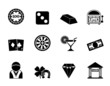 Silhouette casino and gambling icons