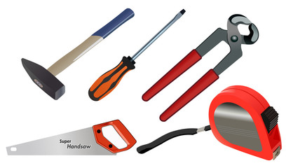 Vector format of small set of workshop hand tools