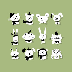 Set of funny animals for your design