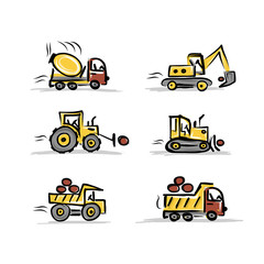 Set of construction equipment for your design