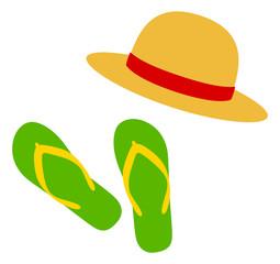 麦わら帽子とビーチサンダル