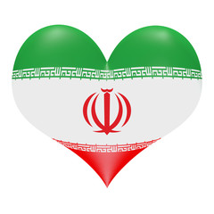 Iranian flag in 3d heart shape
