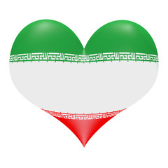 Iranian flag colors in 3D heart shape