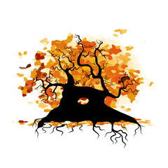 Autumn old tree with roots for your design