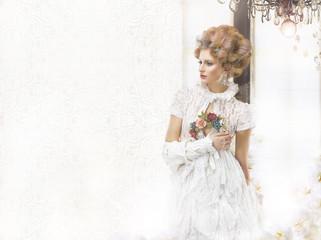 Nostalgic Styled Woman in Openwork Lacy Retro Dress