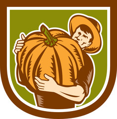 Organic Farmer Holding Pumpkin Shield Retro