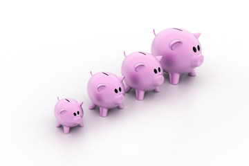 Pink piggy banks increasing in size