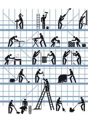 Baustelle mit Handwerkern