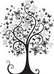 Tree with butterflies (black and white)