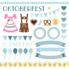 Octoberfest Symbols Set Retro
