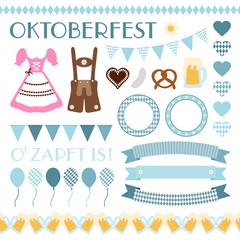 Octoberfest Symbols Set Retro