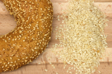 Close-up image of a bagel bread with sesame seeds