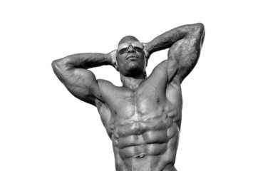 Bodybuilder with perfect abs, shoulders,biceps, triceps,chest