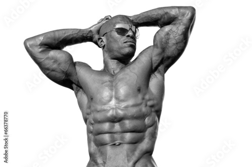 Bodybuilder with perfect abs, shoulders,biceps, triceps,chest - 66378770