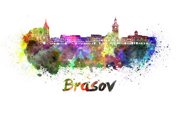 Brasov skyline in watercolor