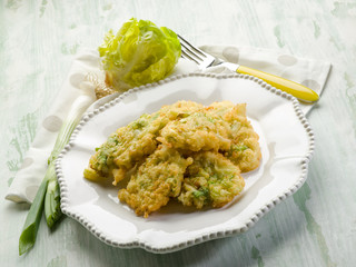 croquette with leek and lettuce, vegetarian food