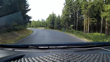 Driving the country road in the forest, shot on dash cam.