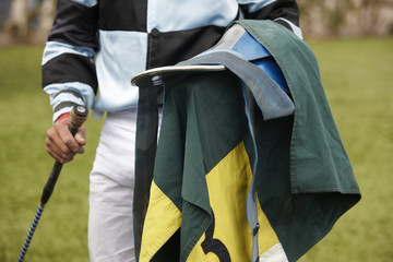 Jockey with equipment in the ground