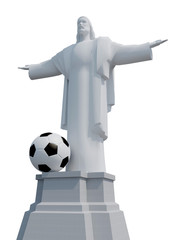 Christ the Redeemer with soccer bal