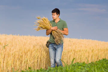 Man with bunch of wheat