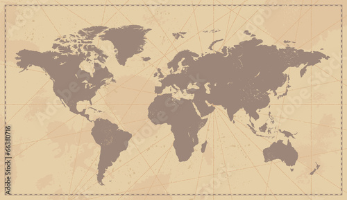 Old Vintage World Map - 66380716
