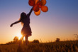 girl with balloons  outdoor