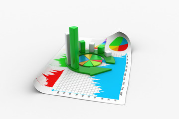 business graph and documents