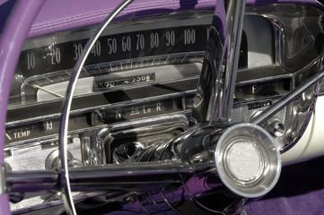 classic car dashboard circa 1950