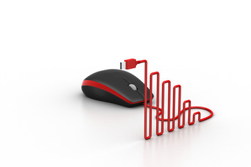 computer mouse with cable shaped like a graph