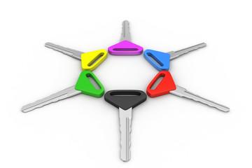 Bunch of multi-coloured keys