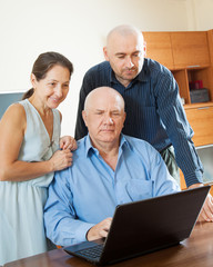 parents with adult son in internet