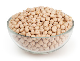 Chick beans isolated on white background with clipping path