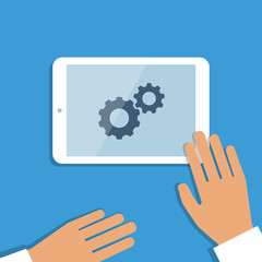 Tablet pc in process and human hands. Vector background