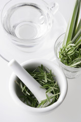 Rosemary in a pestle and mortar