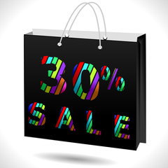30% off, 30 sale discount, 30 off text with shopping bag - EPS10