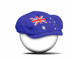 fashion hat on white with the flag of Australia