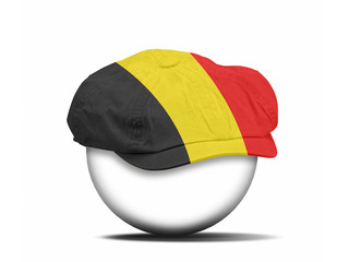 fashion hat on white with the flag of Belgium