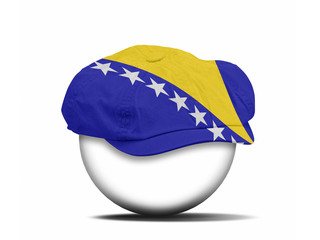 fashion hat on white with the flag of Bosnia Herzegovina
