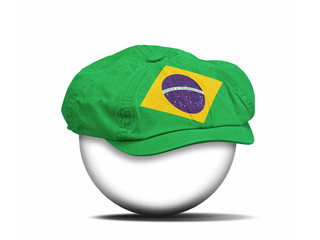 fashion hat on white with the flag of Brazil
