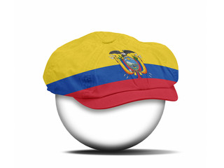 fashion hat on white with the flag of Ecuador