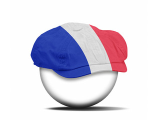 fashion hat on white with the flag of French
