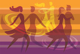 Fototapety Dancing couples colorful background