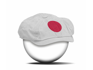 fashion hat on white with the flag of Japan