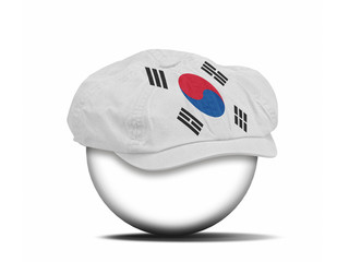 fashion hat on white with the flag of Korea