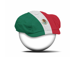 fashion hat on white with the flag of Mexico